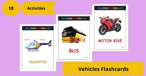 Vehicles Flashcards Activity Flash Cards